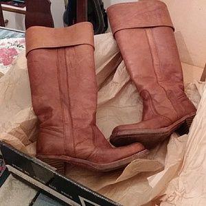 Frye cognac size 5 women with heel gently worn.